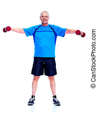 Fitness man. Isolated on white background.
