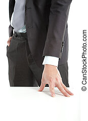 hand of businessman put on the table
