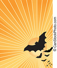 Halloween Bats at Sunset - Halloween bats flying out at...