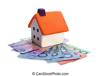 house and money - Real estate concept - house and money on...
