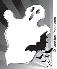 Halloween Poster - Halloween ghost and flying bats. Copy...