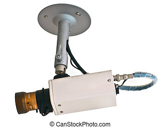 CCTV security camera isolated white