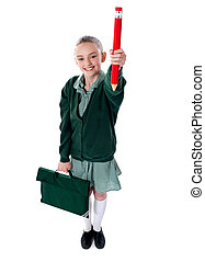Full length shot of school girl with bag
