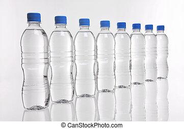water bottles in a line