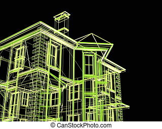 Abstract architectural 3D construction