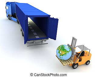 loading of earth in a container
