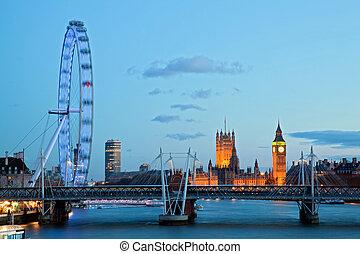 London Eye - LONDON - April 15: London Eye with Big ben, on...