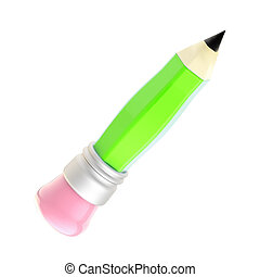 Green pencil with an pink eraser isolated on white