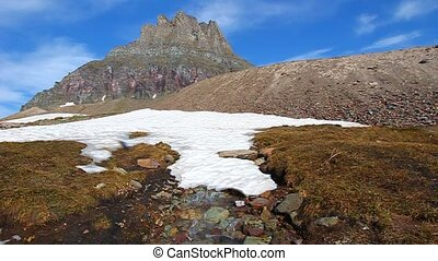 Logans Pass - Glacier NP - Water from melting snow flows...