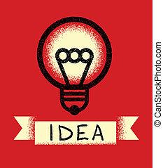Light Bulb. Retro Poster Concept.