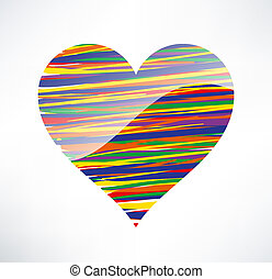 Heart  icon. Illustrated with colored stripes. The concept of love.