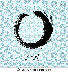 Zen calligraphy brushstroke circle Oriental character