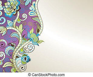 Abstract Purple Floral - Illustration of abstract floral...