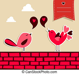 Fresh social media birds love - Trendy love concept: urban...