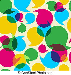 Social media bubbles pattern background - Colorful social...