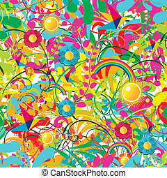 Vibrant floral summer pattern - Leaf, flower and butterfly...