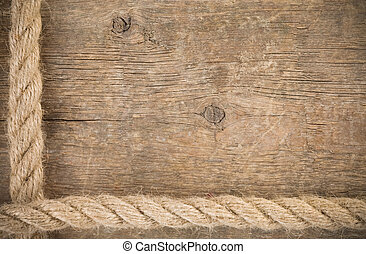 ship ropes borders on wood background texture