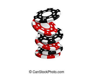 casino chips stack isolated on white background