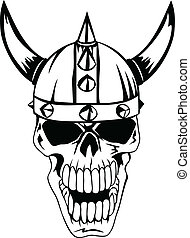 skull in helmet Vikings - The vector image a skull in an...