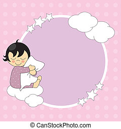 Frame baby girl - Sleeping child hugging the pillow. Frame...