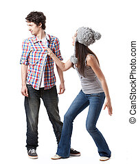 The Rejection - Lovely young couple having fun in studio