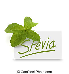 leaves of stevia rebaudiana over a card where it is written...
