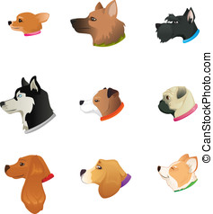 Dogs Heads - Side view dog head icon set
