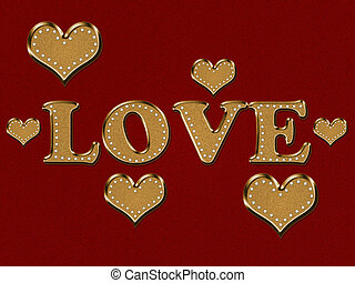Inscription love with hearts