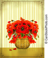Bouquet of red poppy flowers in basket on vintage card...