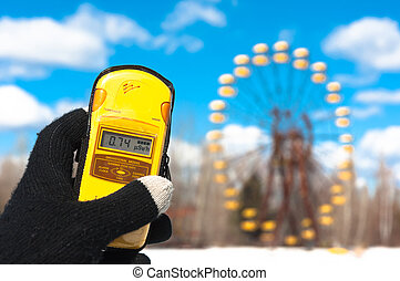 Geiger counter in chernobyl, amusement park