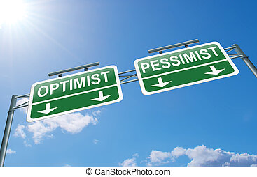 Optimist or pessimist concept - Illustration depicting a...