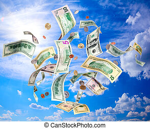 Flying dollars - American dollars banknotes and coins...