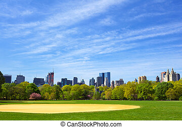 Central Park - The Great Lawn at Central Park with Manhattan...