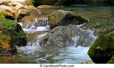 Small waterfall in forest - Scenic view of small waterfall...