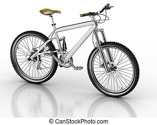 Bicycle isolated on white background with reflection