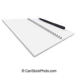 Notebook and pen on a white