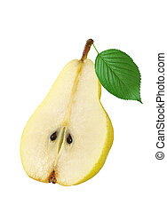 ripe pear with green leaf isolated on white background