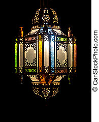 Moroccan lantarn - Colorful arabian lamp of metal and glass...