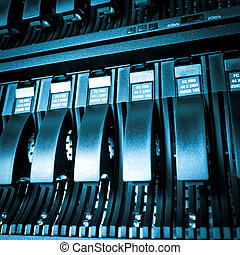 Data center detail - Detail of hard drive cluster in data...