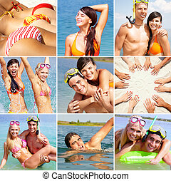 Summer vacations - Collage of happy friends spending summer...