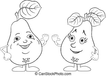 Character pears, outline - Cartoon, fruits, two character...