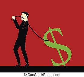 Businessman pulling a rope dollar
