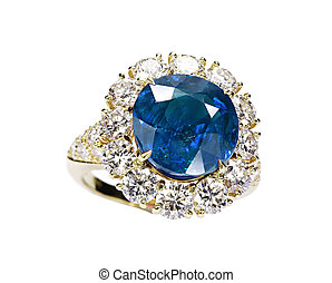 beautiful ring with blue gem isolated on white - beautiful...