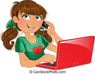 Girl with phone and red laptop - Brown-haired girl with...
