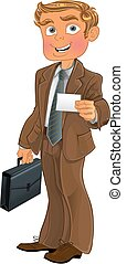 Businessman with business card - Businessman in brown suit...