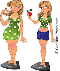 Fat before and slim after girl - Fat girl with pie and slim...