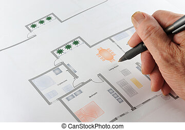 Home floor plan - Colorful home floor plan with a hand...