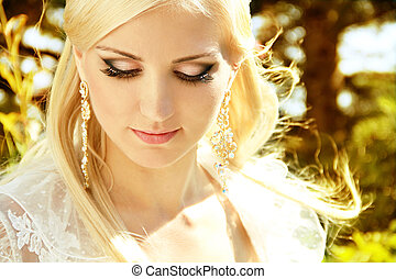 Fashion Blond Girl with make up