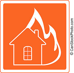 red sign house fire - red warning sign with house fire