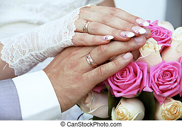 Wedding rings on hands - Wedding rings on fingers, hands
